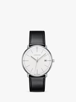 Junghans 041/4817.04 Unisex Max Bill Date Leather Strap Watch, Grey/White
