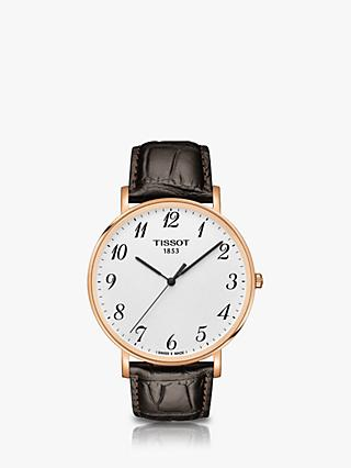 Tissot T1096103603200 Unisex Everytime Leather Strap Watch, Brown/White