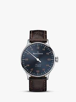 MeisterSinger PM917G Men's Pangaea Automatic Leather Strap Watch, Dark Brown/Blue