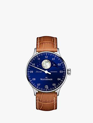 MeisterSinger LS908 Men's Lunascope Day Automatic Leather Strap Watch, Tan/Blue