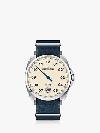 MeisterSinger ME903-SNY01 Unisex Metris Automatic Date Fabric Strap Watch, Blue/Cream