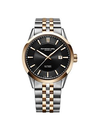 Raymond Weil 2731-SP5-20001 Men's Freelancer Automatic Date Two Tone Bracelet Strap Watch, Silver/Rose Gold
