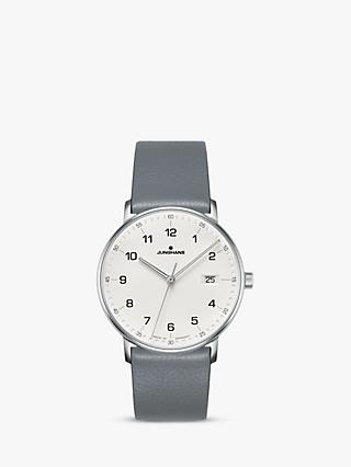 Junghans 041/4885.00 Unisex Form Date Leather Strap Watch, Grey/White