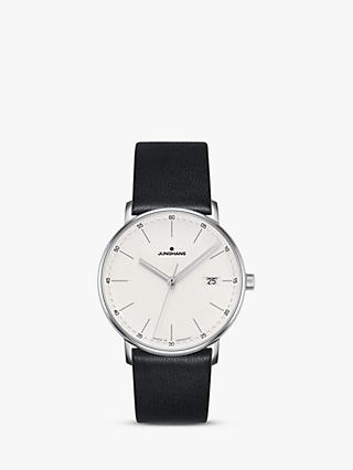 Junghans 041/4884.00 Unisex Form Date Leather Strap Watch, Black/White