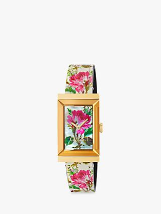 3ede409d794 Gucci YA147406 Women s G-Frame Rectangular Leather Strap Watch