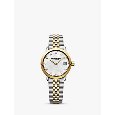 Raymond Weil 5626-STP-97081 Women's Freelancer Diamond Date Two Tone Bracelet Strap Watch, Silver/Gold
