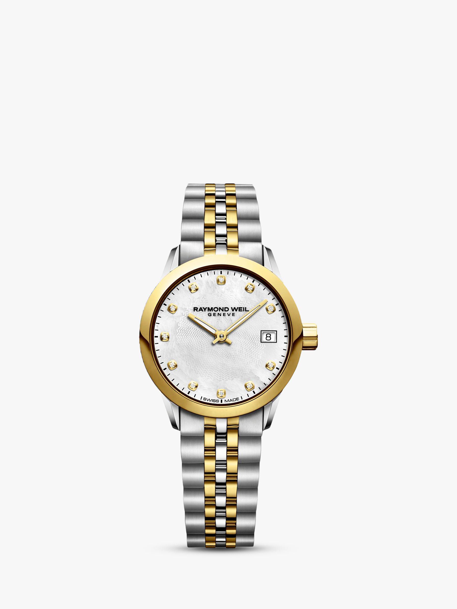 Raymond Weil Raymond Weil 5626-STP-97081 Women's Freelancer Diamond Date Two Tone Bracelet Strap Watch, Silver/Gold