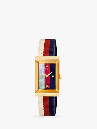 Gucci YA147405 Women's G-Frame Rectangular Fabric Strap Watch, Multi