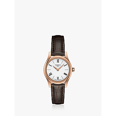 Tissot T0630093601800 Women's T-Classic Tradition 5.5 Leather Strap Watch, Brown/Gold