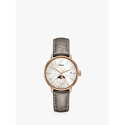 Rado R22885945 Women's Coupole Classic Date Leather Strap Watch, Grey/White