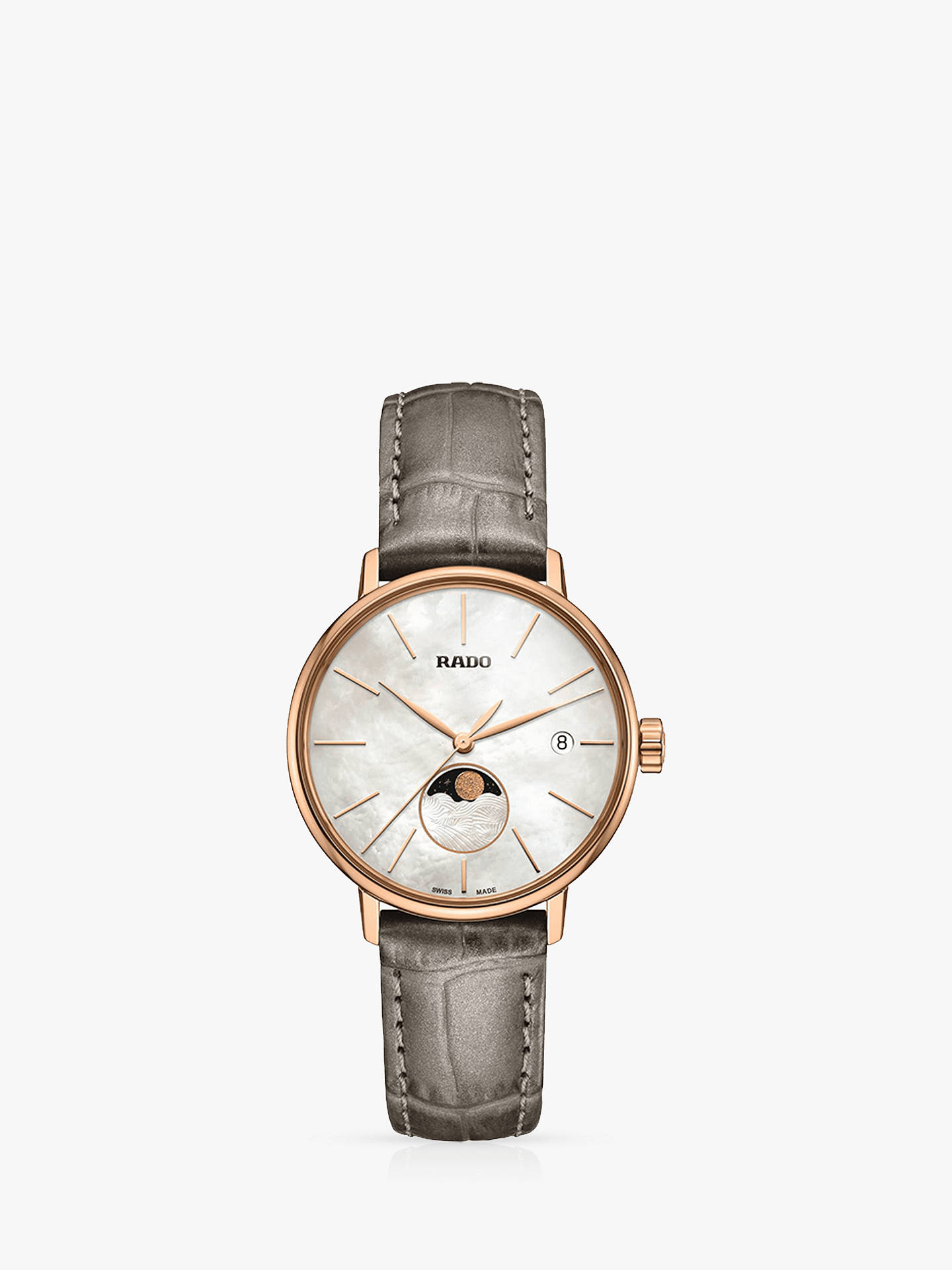 cc6fa5a5b Buy Rado R22885945 Women's Coupole Classic Date Leather Strap Watch,  Grey/White Online at