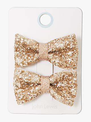 179720015711 John Lewis & Partners Heirloom Collection Children's Glitter Bow Hair Clips,  ...