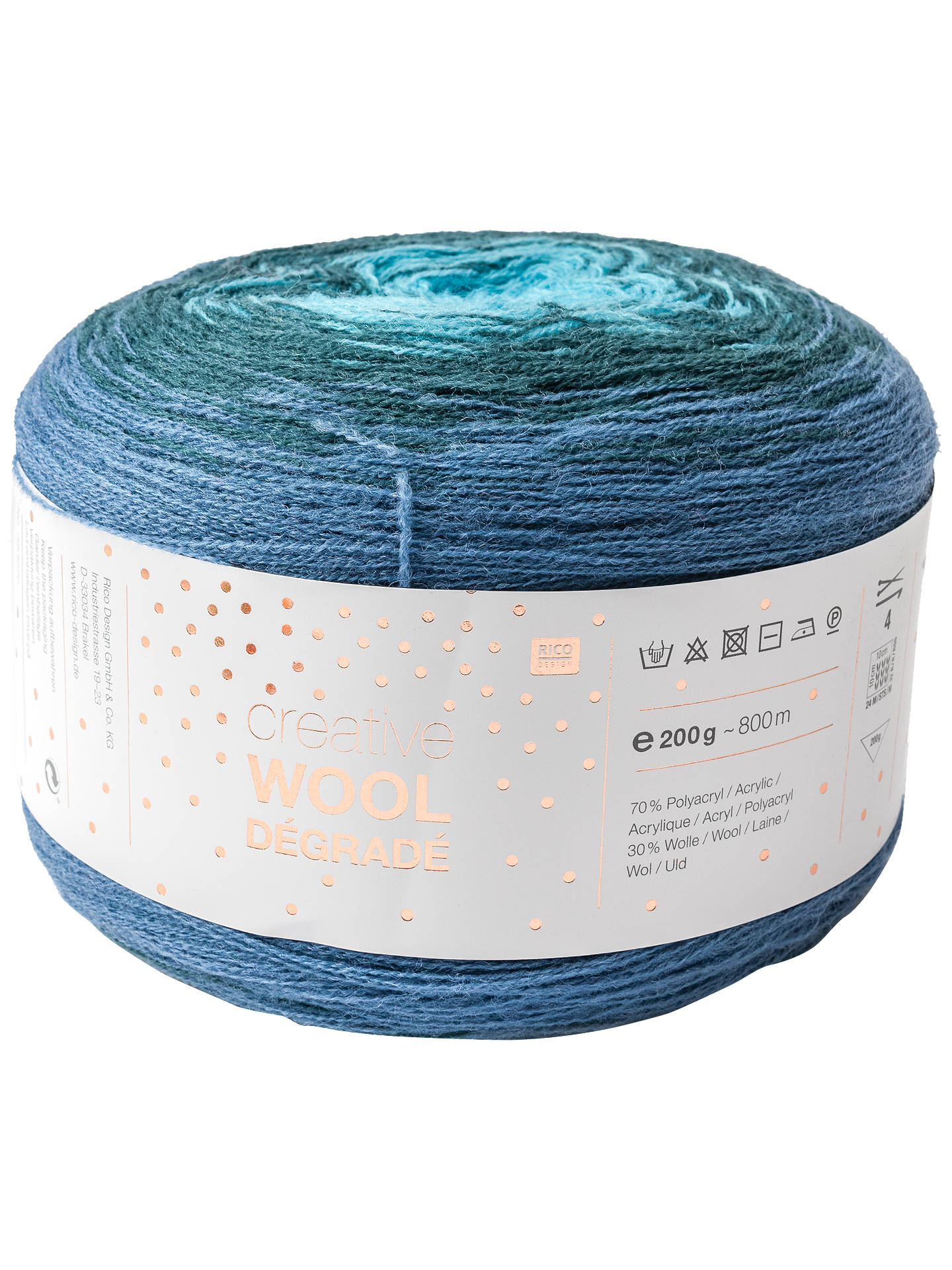 BuyRico Creative Wool Degrade 4 Ply Yarn, 200g, Blue Online at johnlewis.com