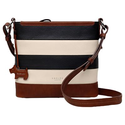 Radley Babington Medium Stripe Leather Cross Body Bag, Black/Cream