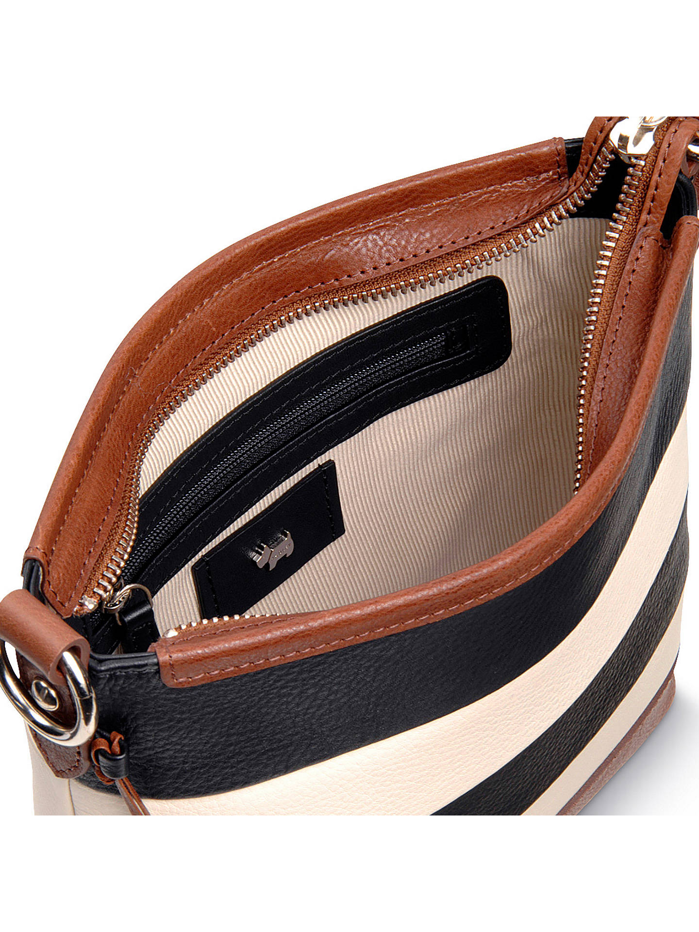 4fce3b9e8c4 BuyRadley Babington Medium Stripe Leather Cross Body Bag, Black Cream  Online at johnlewis.