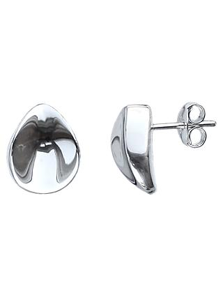 Nina B Concave Stud Earrings, Silver