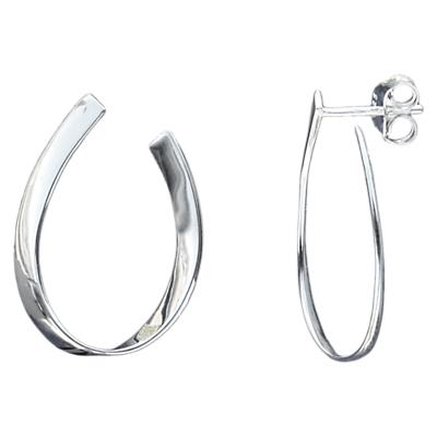 Image of Nina B Flat Curve Hoop Earrings, Silver