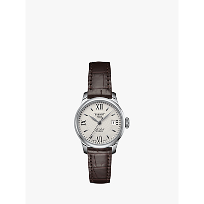 Tissot T41111377 Women's Le Locle Automatic Date Leather Strap Watch, Brown/Cream
