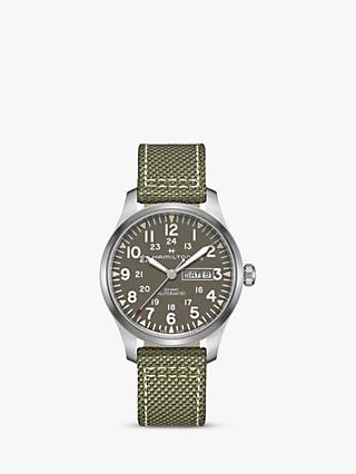 Hamilton H70535081 Men's Khaki Field Automatic Day Date Fabric Strap Watch, Green