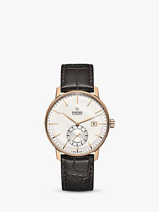 Rado R22881025 Men's Coupole Classic Automatic Leather Strap Watch, Brown/White