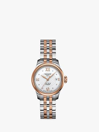 Tissot T41218316 Women's Le Locle Automatic Diamond Date Two Tone Bracelet Strap Watch, Silver/Rose Gold