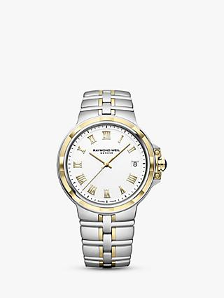 Raymond Weil 5580-STP-00308 Men's Parsifal Date Two Tone Bracelet Strap Watch, Silver/Gold