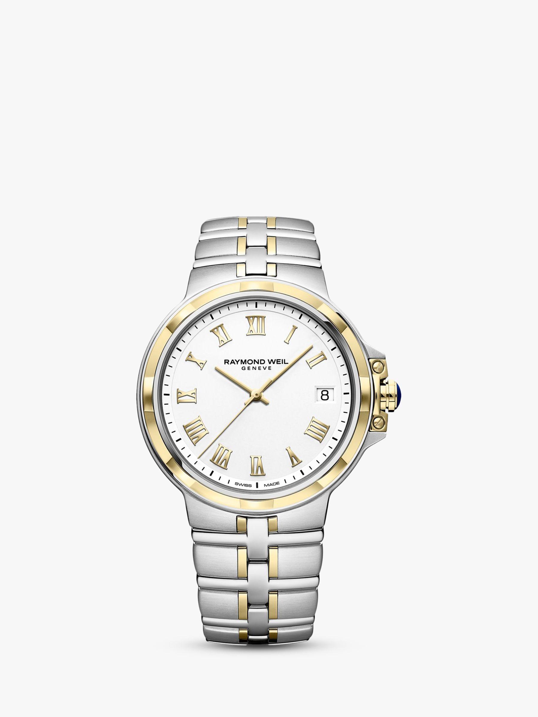 Raymond Weil Raymond Weil 5580-STP-00308 Men's Parsifal Date Two Tone Bracelet Strap Watch, Silver/Gold