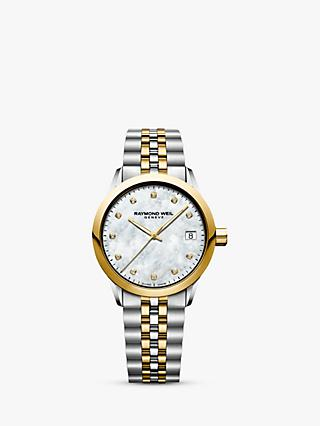 Raymond Weil 5634-STP-97081 Women's Freelancer Diamond Mother of Pearl Two Tone Bracelet Strap Watch, Silver/Gold
