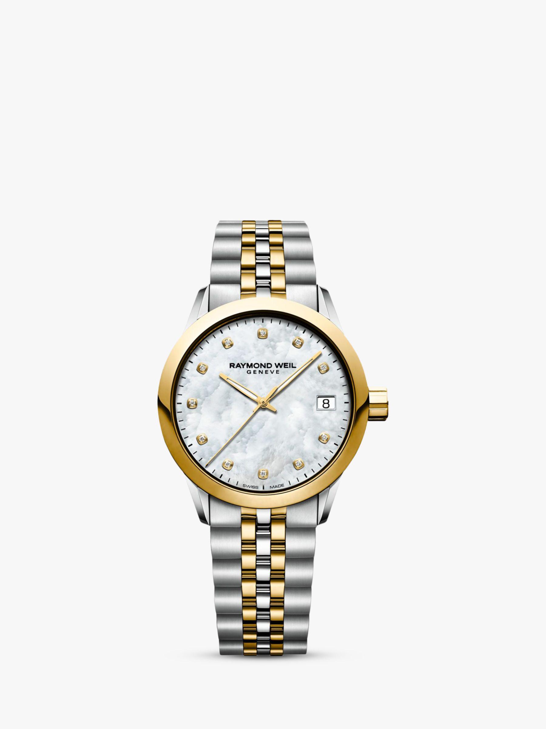 Raymond Weil Raymond Weil 5634-STP-97081 Women's Freelancer Diamond Mother of Pearl Two Tone Bracelet Strap Watch, Silver/Gold