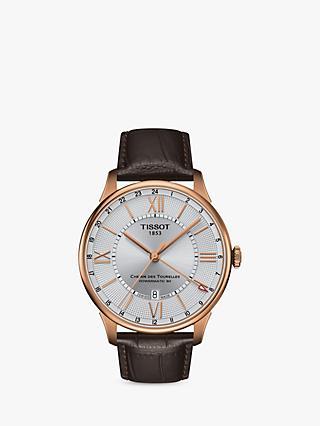 0246aa5471e Tissot T0994293603800 Men s Chemin Des Tourelles Powermatic 80 Date Leather  Strap Watch