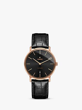 Rado R14068166 Men's Diamaster Date Automatic Leather Strap Watch, Black
