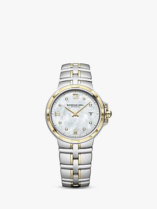 Raymond Weil 5180-STP-00995 Women's Parsifal Diamond Date Mother of Pearl Two Tone Bracelet Strap Watch, Silver/Gold