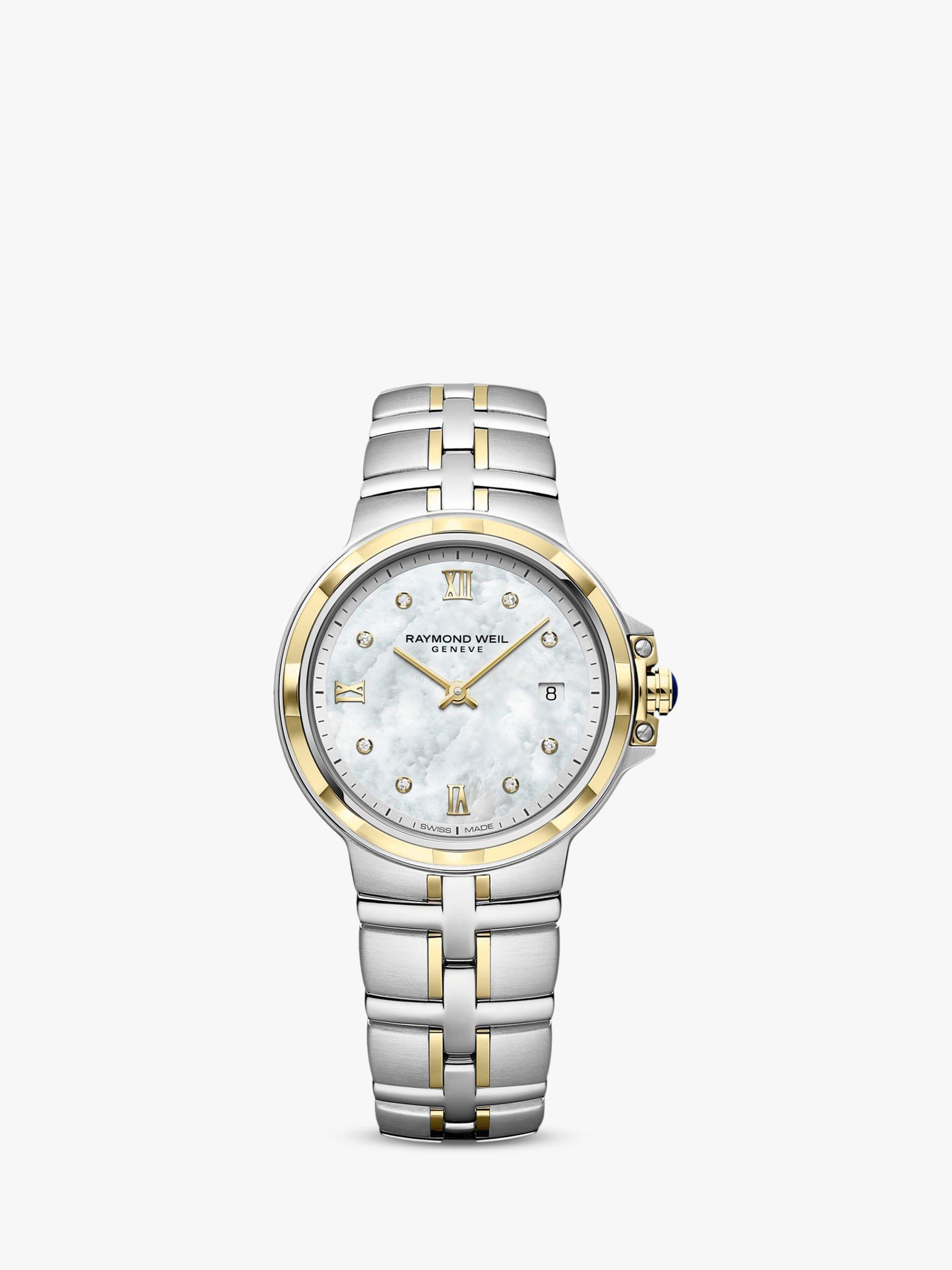 Raymond Weil Raymond Weil 5180-STP-00995 Women's Parsifal Diamond Date Mother of Pearl Two Tone Bracelet Strap Watch, Silver/Gold