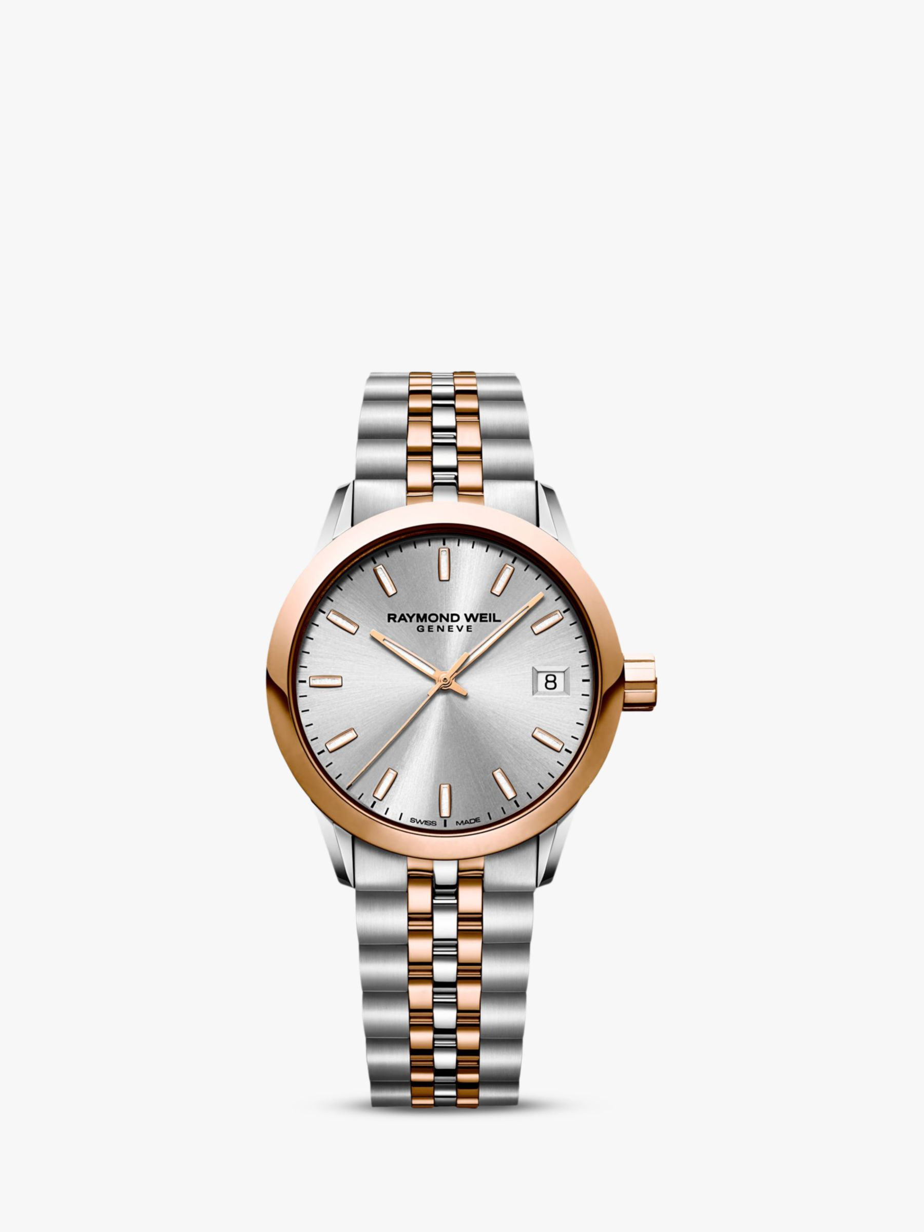 Raymond Weil Raymond Weil 5634-SP5-65021 Women's Freelancer Date Two Tone Bracelet Strap Watch, Silver/Rose Gold