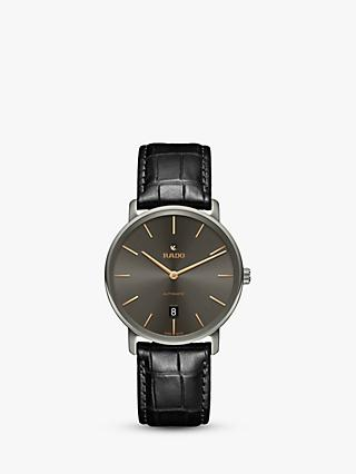 Rado R14067156 Men's Diamaster Date Automatic Leather Strap Watch, Black/Grey