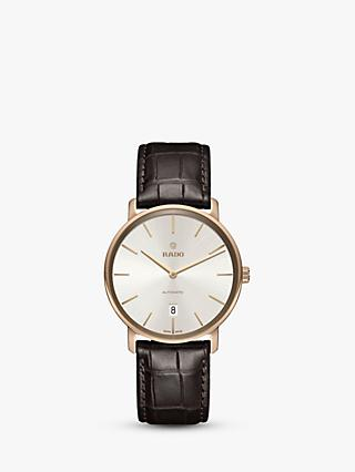 Rado R14068026 Men's Diamaster Date Automatic Leather Strap Watch, Brown/Cream