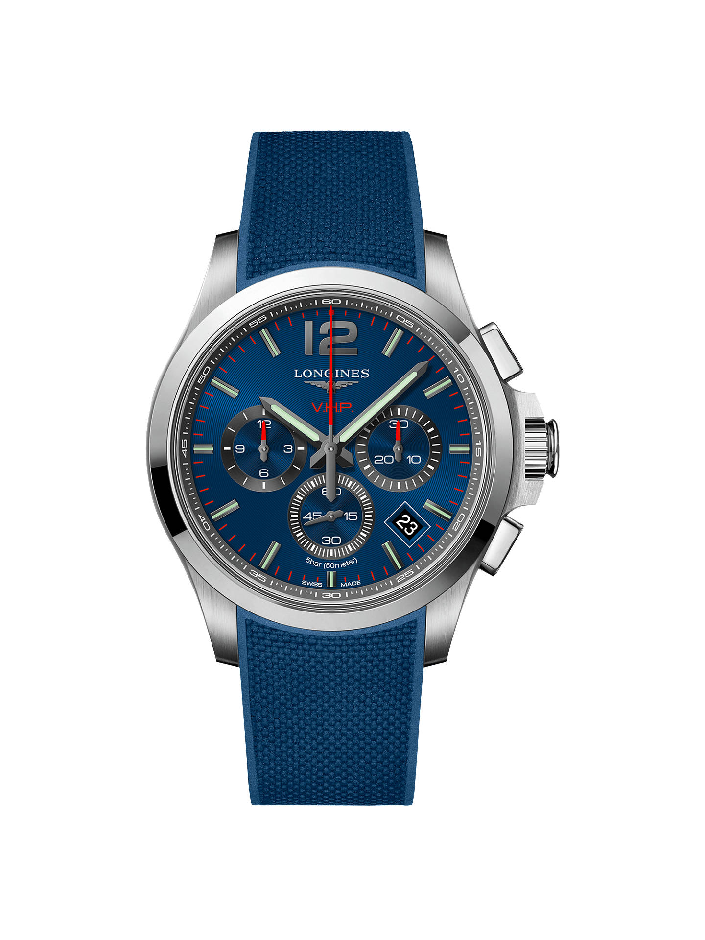 ef4f08ce8a4 Buy Longines L37174969 Men's Conquest VHP Chronograph Rubber Strap Watch,  Blue Online at johnlewis.