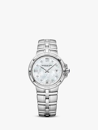 Raymond Weil 5180-ST-00995 Women's Parsifal Diamond Date Mother of Pearl Bracelet Strap Watch, Silver