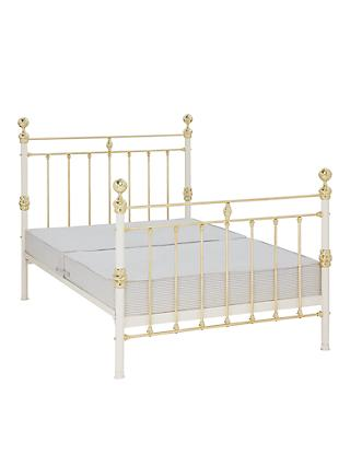 Wrought Iron And Brass Bed Co. George Sprung Bed Frame, Double, Ivory