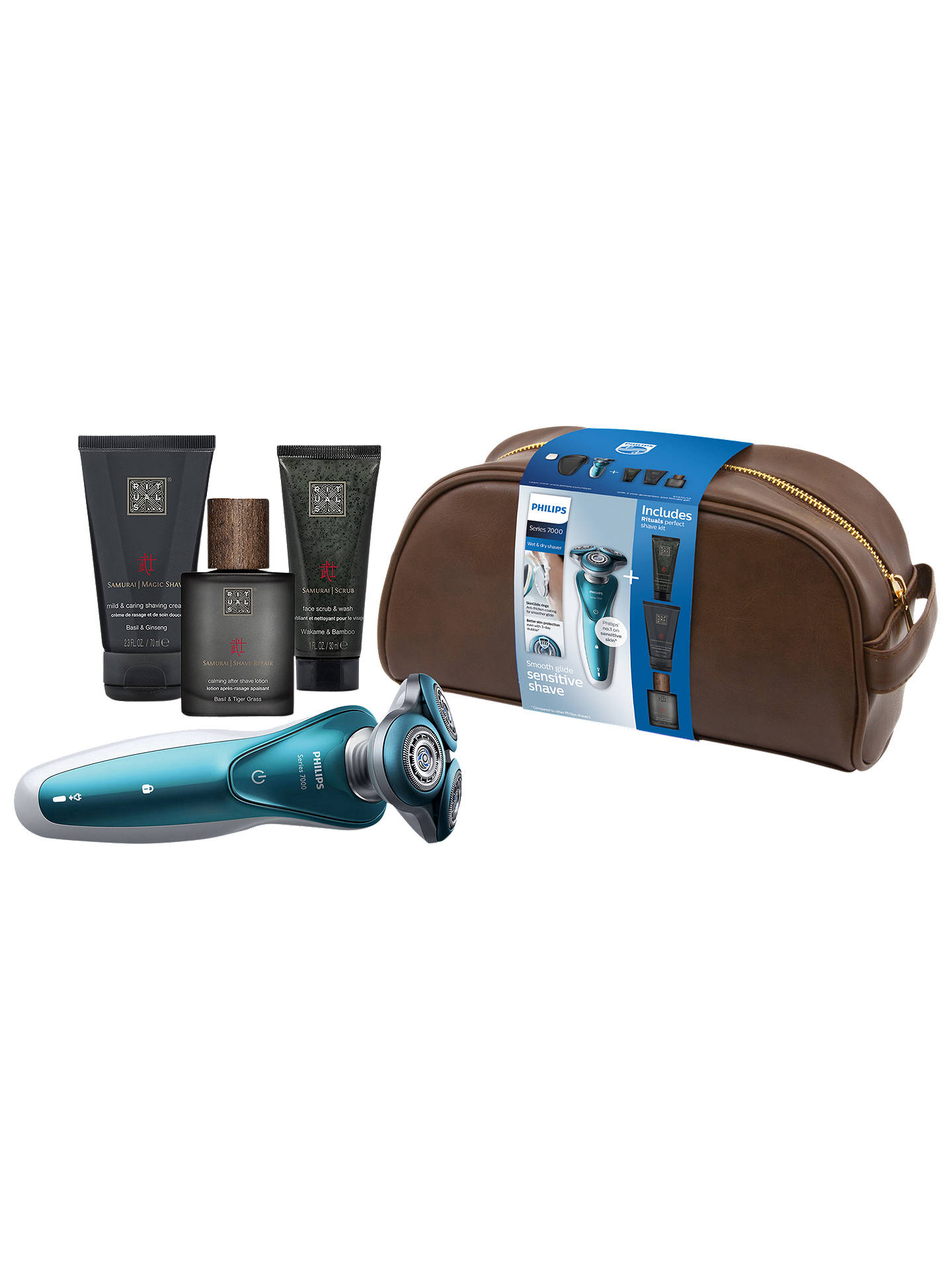BuyPhilips S7370/12 Wet & Dry Electric Shaver with Rituals Perfect Shave Kit & Wash Bag Online at johnlewis.com