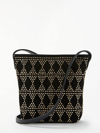 Buy AND/OR Mara Suede Small Zip Top Cross Body Bag, Black Online at johnlewis.com