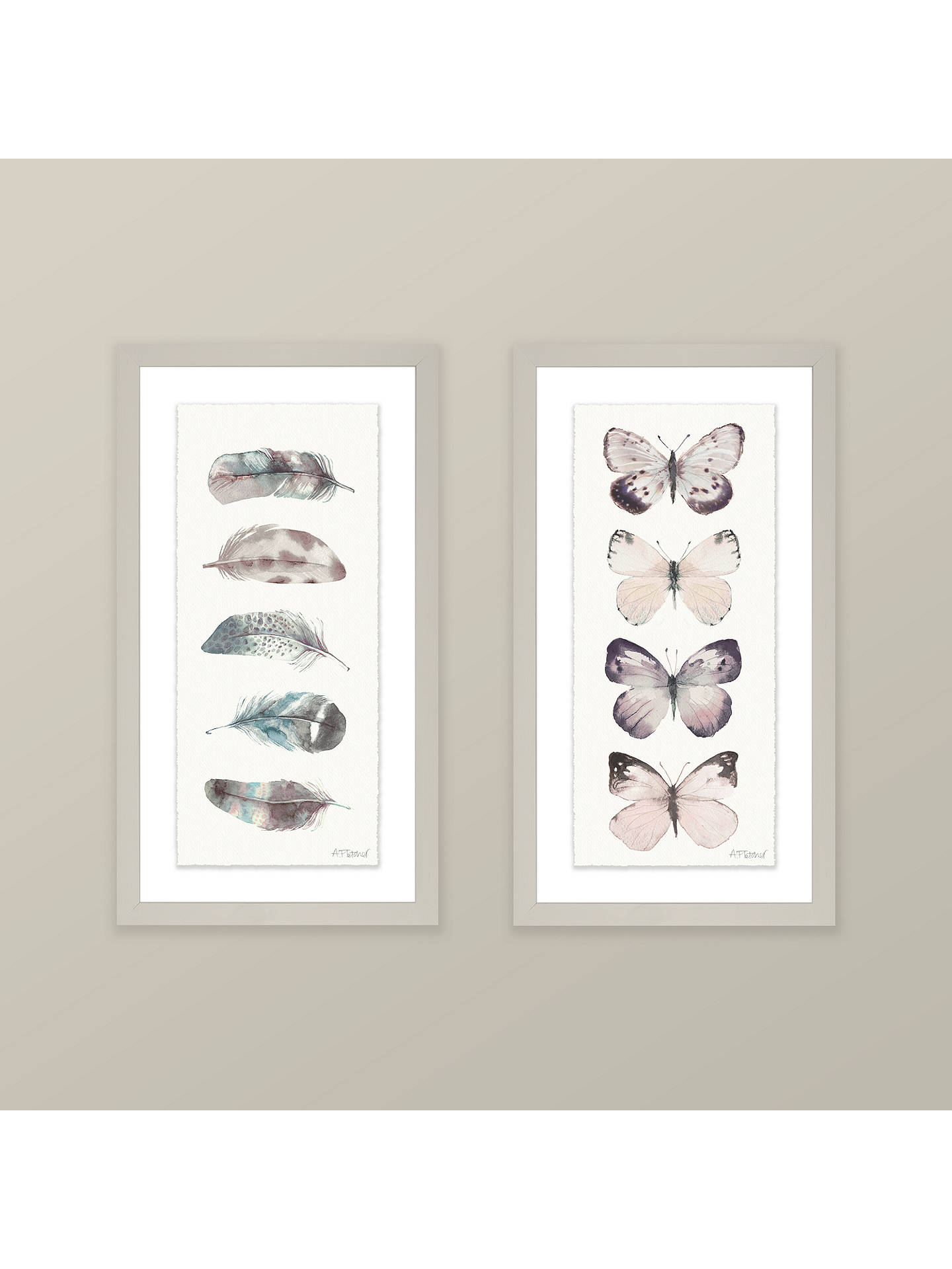 BuyAdelene Fletcher - Watercolour Feathers Framed Print & Mount, 38 x 21cm Online at johnlewis.com