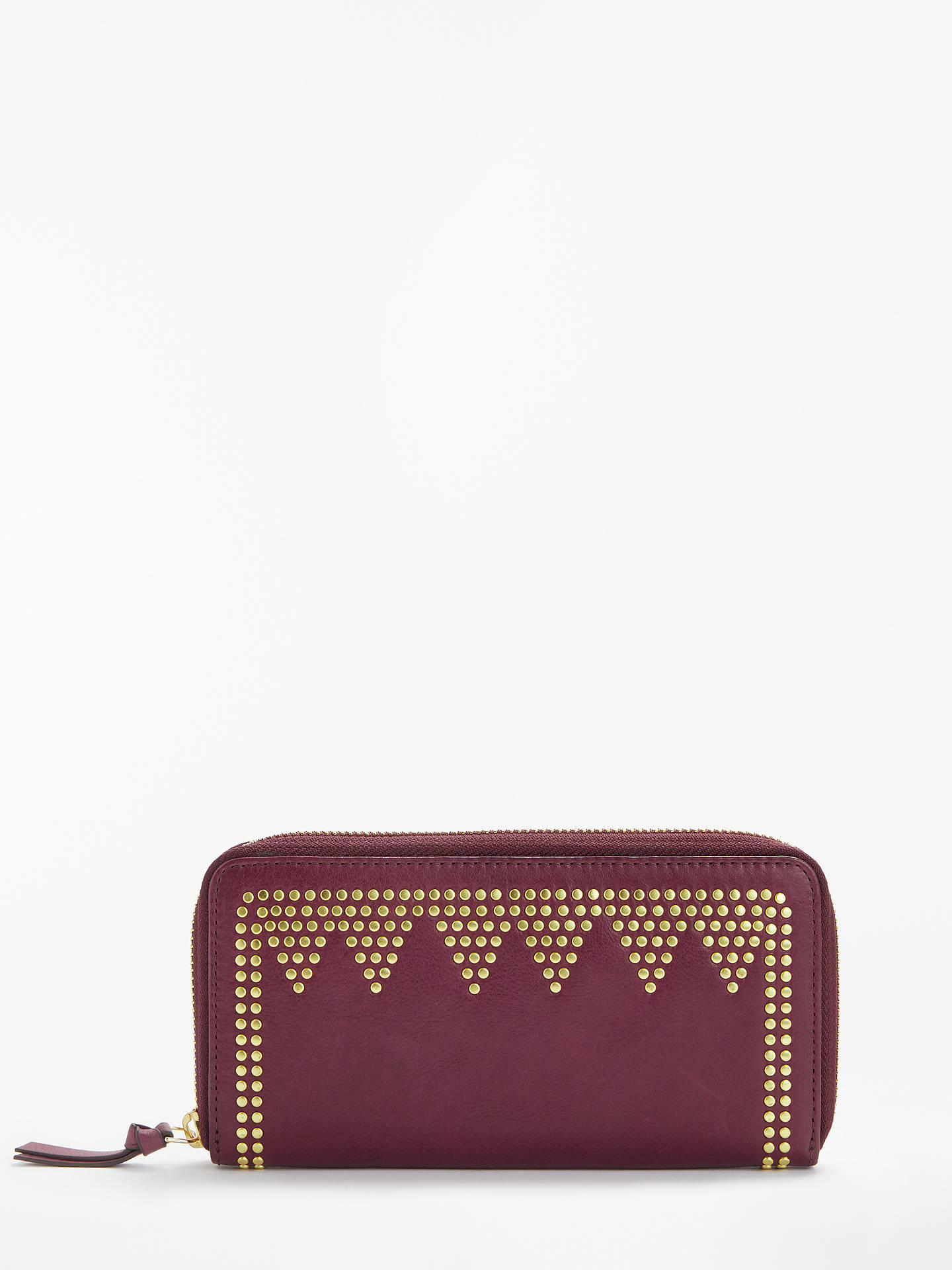 BuyAND/OR May Leather Stud Zip Around Purse, Red Online at johnlewis.com