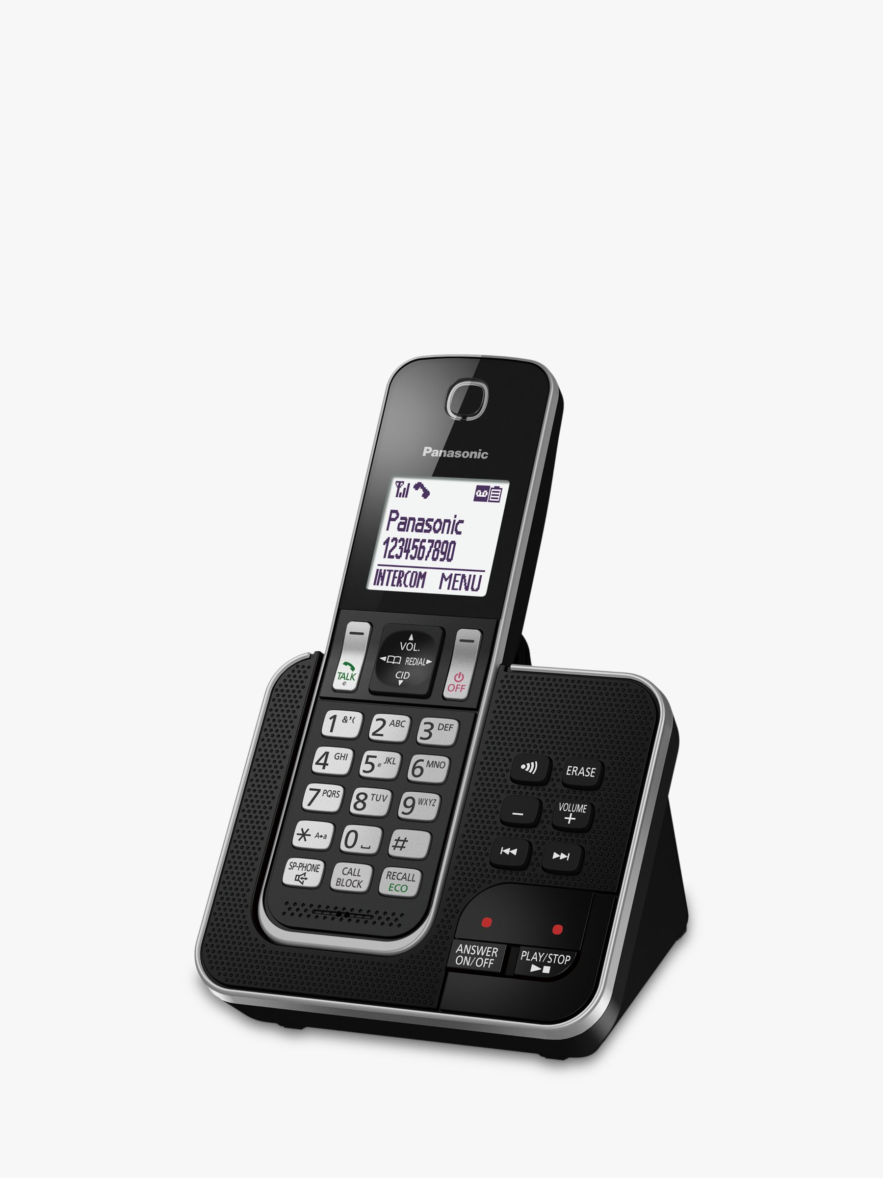 Panasonic Panasonic KX-TGD620EB Digital Cordless Telephone with Dedicated Nuisance Call Block Button and Answering Machine, Single DECT