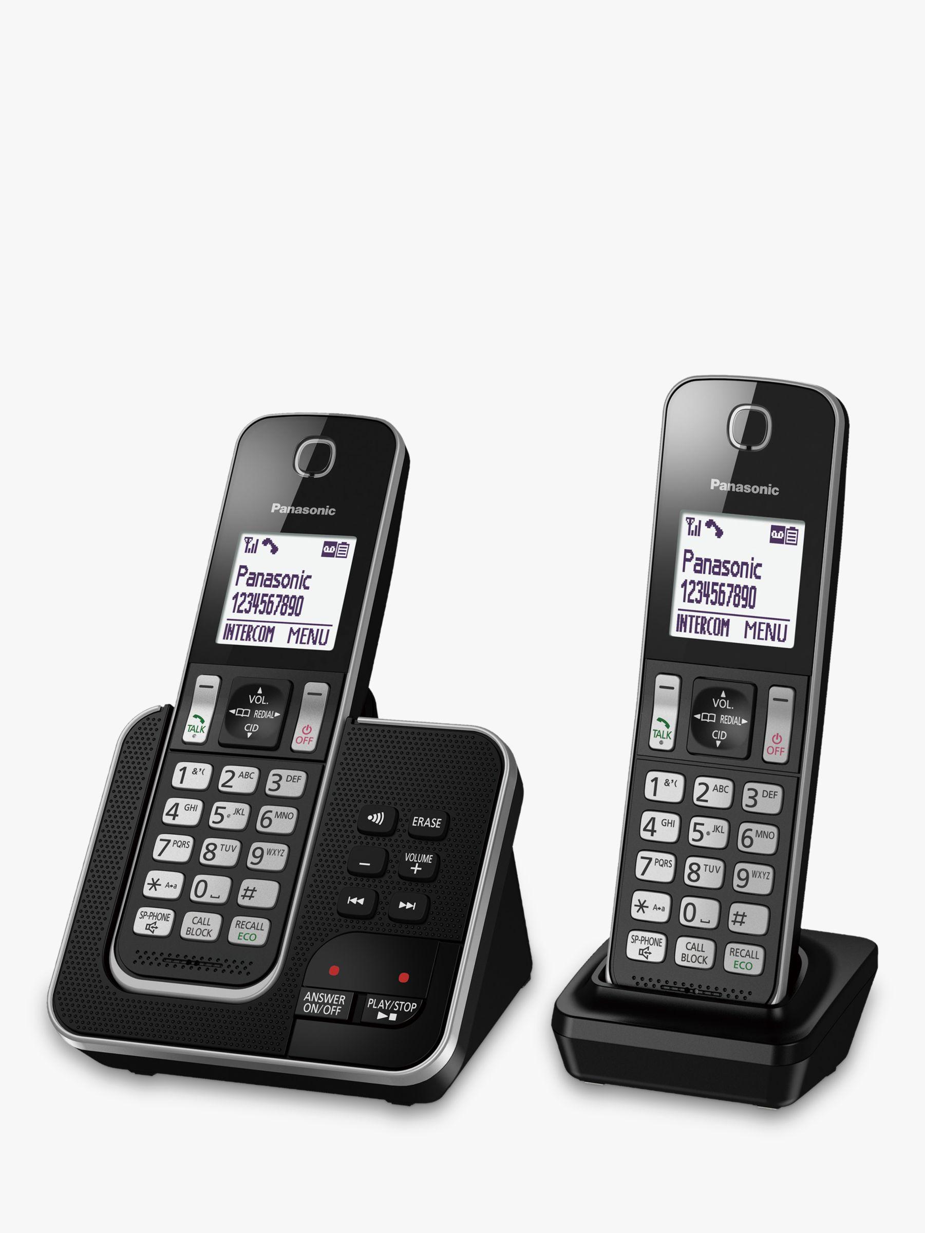 Panasonic Panasonic KX-TGD622EB Digital Cordless Telephone with Dedicated Nuisance Call Block Button and Answering Machine, Twin DECT