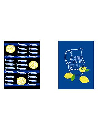 Ana Zaja Petrak - Sardines & Lemons / Limonata Unframed Prints, Set of 2, 40 x 30cm