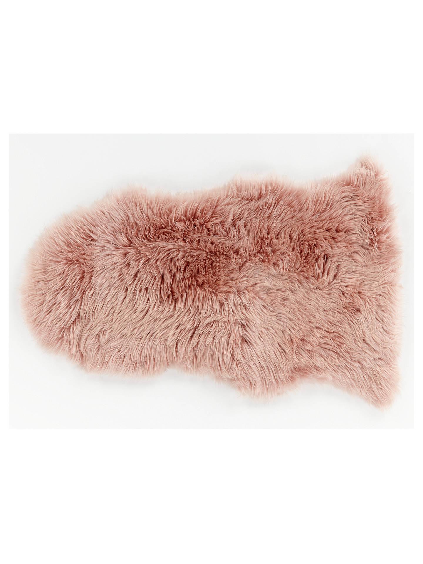 John Lewis Partners Single Sheepskin Rug Pink
