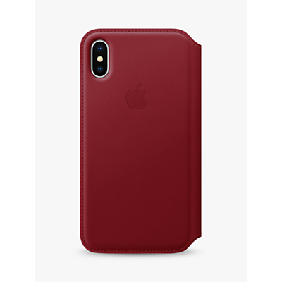 Image of Apple Leather Folio Case for iPhone X (PRODUCT)RED