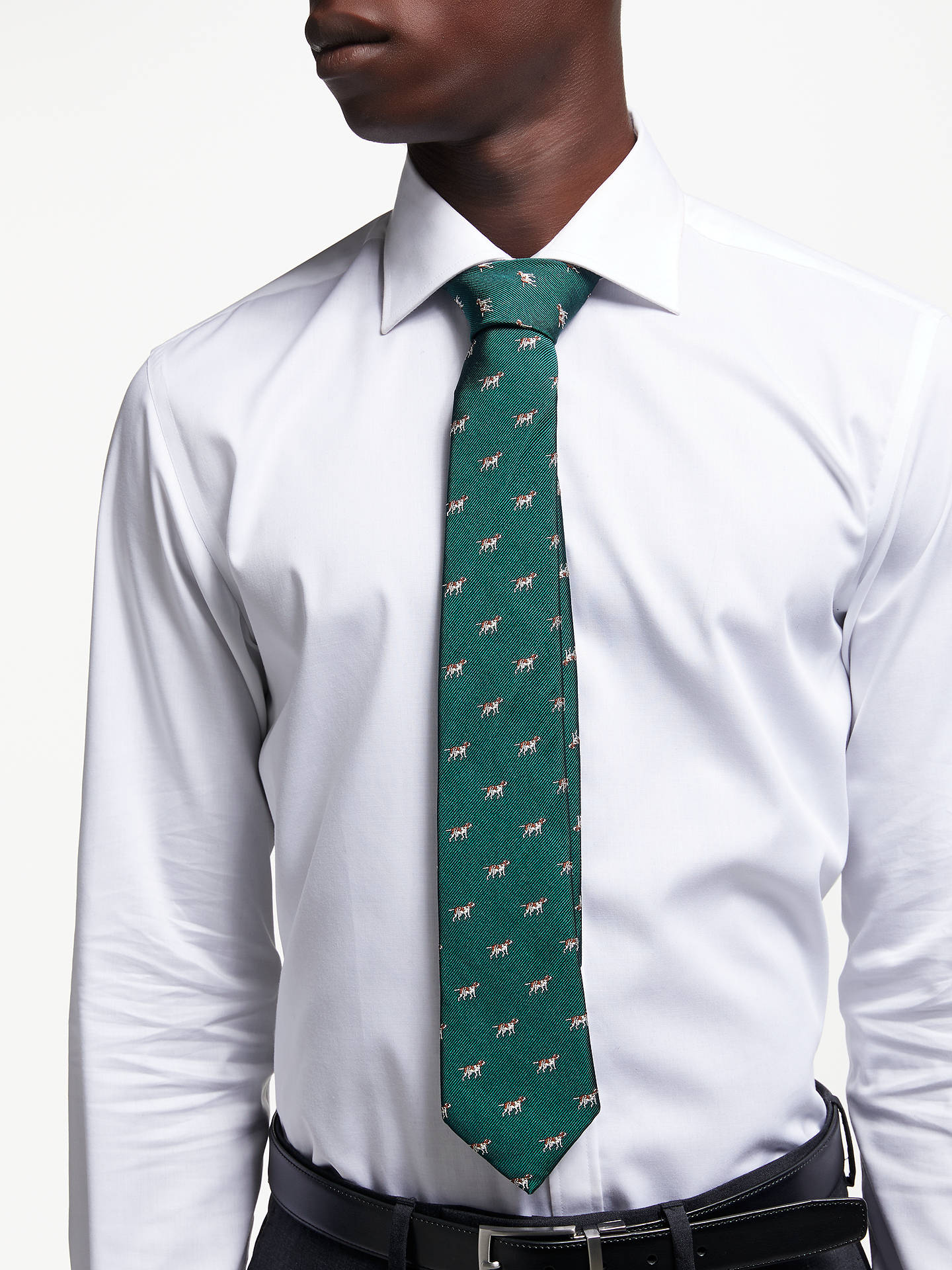 Buy John Lewis & Partners Doggo Silk Tie, Green Online at johnlewis.com