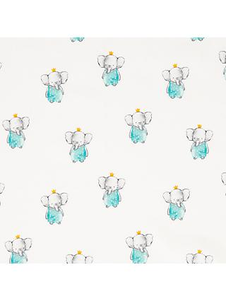 John Louden Ba Ba Elephant Print Fabric, Light Blue